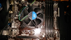 CPU with fan mounted on the motherboard.